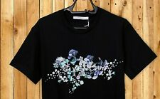 GIVENCHY T Shirt Crew Neck Black Floral Print Size S Brand New Men GENUINE