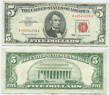 $5 -92- 1963 Five Dollar United States Note Red Seal