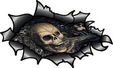 Lrg in Fibra di Carbonio Fibra Squarciata Strappato Gotico Teschio & in metallo all'interno Auto Adesivo