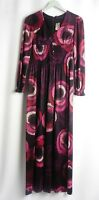 l Debonshire Lady Size S Vintage Maxi Dress 70's Jersey Black Purple Empire