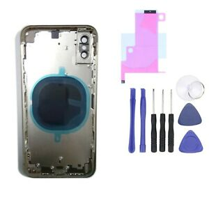 For iPhone X Metal Frame Rear Back Chassis Housing Glass Cover Replacement Parts