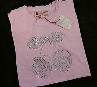 Pacha Diamante Cherry Logo Ladies Clubbing T-Shirts - Light Pink - UK Size Large