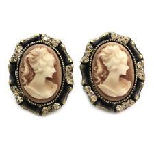 Antique Vintage Design Brown Romantic Cameo Stud Post Pierced Earrings Silver t1