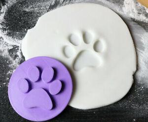 Paw print cookie embosser stamp, Paw fondant embosser
