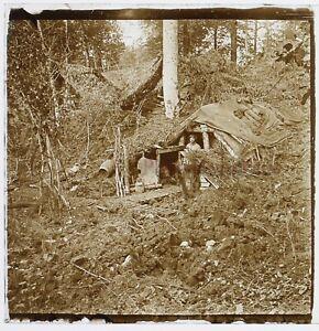Première Guerre mondiale 1914-18 WW1 Abris Tente Photo Plaque Stereo Vintage