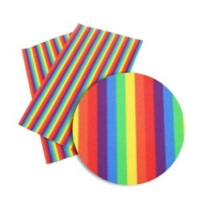 """Rainbow stripes FAUX LEATHER SHEET 8"""" X 12"""" WHOLESALE PRINTED 1063806"""