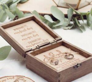 Engraved personalised wedding ring box, wood ring box, wedding ring box his and