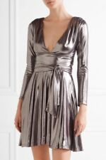 NWT Halston Heritage V Neck Mini Dress Sz L Gunmetal $325
