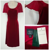 Laura Ashley Vintage Velvet Claret Red Evening Dress Size Small (10) Occasion
