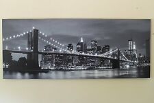 Large Brooklyn Bridge New York Canvas Picture Print With LED Lights