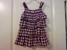 MEXX Girl's Size 98 3 Sleeveless Braided Straps Tiered Ruffle Purple White Dress
