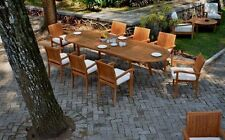 "9 PC DINING TEAK SET GARDEN OUTDOOR PATIO FURNITURE NAPA STACKING 117"" OVAL TABL"