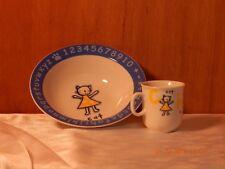 """White Alphabet Cat Bowl and Cat Mug Porcelain 7"""" Dia. Bowl 3"""" Tall Mug"""