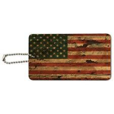 Rustic American USA Flag Distressed Wood Luggage Card Suitcase Carry-On ID Tag