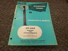 International Hough IH UV345 Engine & Attachments Parts Catalog Manual Book