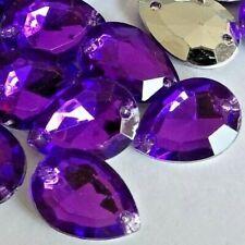 13x18mm 20pcs Purple Tear Drop Strass Acrylic Point-Back Sew-on Rhinestones