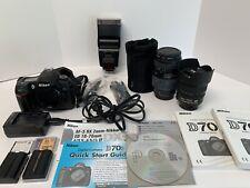 Nikon D70S Digital SLR Camera 18-70mm 1.35-4.5G ED70-300mm Quantary+ Flash Lot