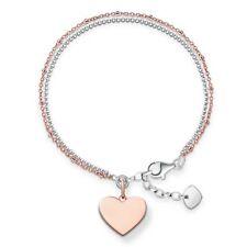 Genuine Thomas Sabo Sterling Silver Rose Gold Heart Bracelet TLBA0102
