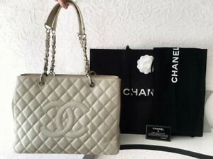 Chanel Authentic Grand Shopping Tote Bag Beige Caviar Leather