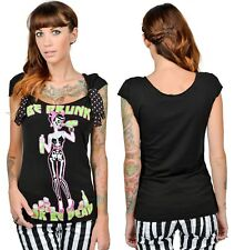 """NEW Too Fast Black """"Be Drunk or Be Dead"""" Sugar Skull Girl Pinup Girl S/S Shirt M"""