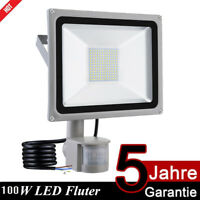 100W LED Fluter mit Bewegungsmelder Flutlicht Scheinwerfer Außen Strahler IP65
