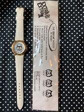 Reloj de Pulsera rara Vintage 1990 Kit Kit-Cat Gato Publicidad Cuarzo 90s Blanco