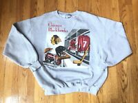 Vintage '90s Chicago Blackhawks Lockeroom Sweatshirt sz L Chelios Roenick #7 #27