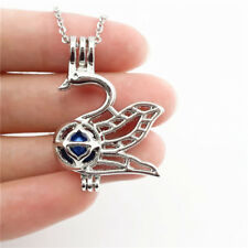 "-K671 Animal Crane Swan Stone Pearl Cage Lock Aromatherapy Pendant Necklace 18"""