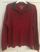 Faded Glory Men's Size Large (42-44) Pullover 1/4 Zip Red Ribbed Sweater