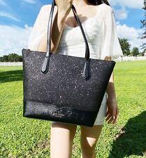 Kate Spade Lola Large Leather Black Glitter Tote Handbag Satchel Purse
