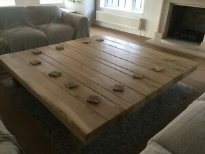 Hand-Crafted Large Premium Oak Square Coffee Table – Rustic/Farm House Style