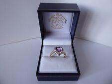 9ct 9carat Yellow Gold Amethyst & Diamond Heart Ring Size N