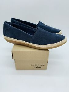Clarks Collection Women Danelly Sky Espadrille Slip-Ons NAVY Suede, choose size