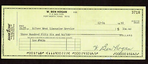 BEN HOGAN SIGNED PERSONAL CHECK AUTOGRAPHED  GOLF