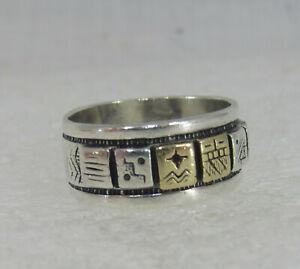 Native American Roderick Tenorio Carolyn Pollack Relios Sterling Silver 14K Ring