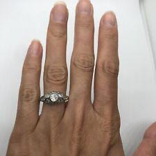 Antique Edwardian Art Deco 14k white gold European cut diamond engagement ring