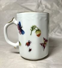 Vintage Lenwile Ardalt Porcelain Mug 6171 Strawberries Butterflies Ladybug