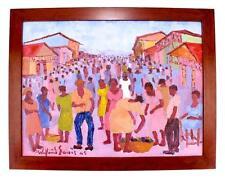 WILFRID LOUIS (1943 - 2012) LISTED FAMOUS HAITIAN MODERNIST ARTIST OIL PAINTING