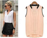 Fashion Women Summer Loose Casual Chiffon Sleeveless Vest Shirt Tops Blouse 006U