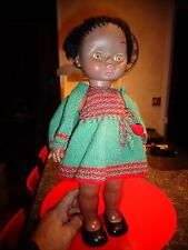 Jolie Ancienne Poupée Noire 45 cm  Yeux mobiles GARMO Made in Spain Habit tricot