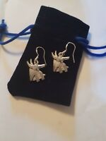 Anubis Earrings Silver 925 Hallmarked EarWires in Blue Velvet Pouch