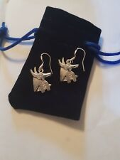 Annubis Earring 925 Sterling Silver Hooks and silver chsrms in Velvet Pouch