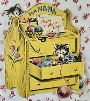 Vintage 1950s Die-Cut Mother's Day Greeting Card Kittens Yarn Sewing Cupboard