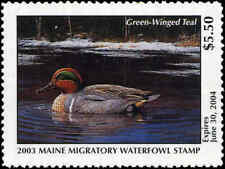 MAINE #20 2003 STATE DUCK STAMP GREEN WINGED TEAL  by Jeannine Staples