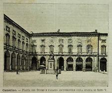 1891=CAMERINO,PIAZZA DUOMO-PALAZZO.ARCIVESCOVILE=Xilo+Passepartout.Etna.Premoli