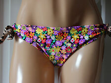 California Waves Multi Floral Tie Side Swimwear Hipster Bikini Pant  L Large NWT