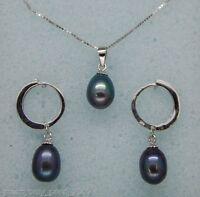 "MP"" Fine 8-9mm AAA+black pearl jewelry set 925S chain"
