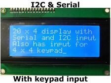 I2C & Serial, 20x4 LCD Display Module with 4x4 Keypad Controller LC BV4618 Fit