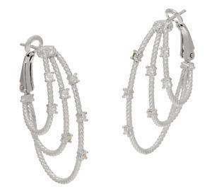 Judith Ripka Verona Sterling Silver Simulated Diamond Multi-row Hoop Earrings