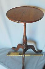 Antique American candlestand cherry dish top Queen Anne 18th c. kettle stand